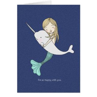 Carte de Saint-Valentin de Narwhal de sirène je