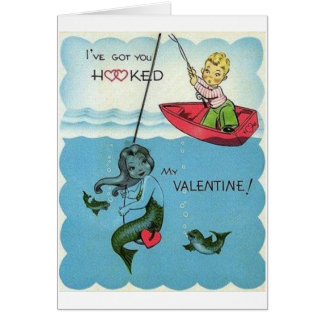 Carte de Saint-Valentin de sirène accrochée par cr