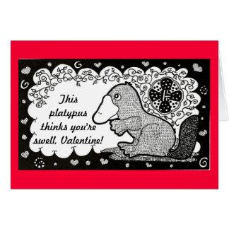 Carte de Saint-Valentin d'ornithorynque de bosse