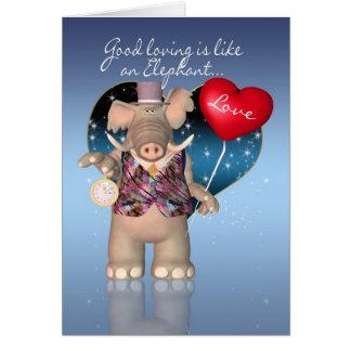 Carte de Saint-Valentin - humoristique - éléphant