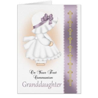 Carte de sainte communion de petite-fille avec la