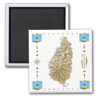Carte de Sainte-Lucie + Aimant de drapeaux