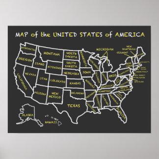 Carte de salle de classe de tableau des Etats-Unis