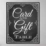 Carte de signe de mariage et table de cadeau affiche