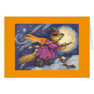 Carte de sorcière d'ours de nounours de Halloween