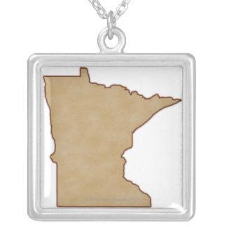 Carte de soulagement du Minnesota Pendentif Carré