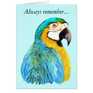 Carte de souvenir de perroquet d'ara de bleu et