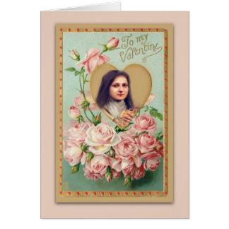 Carte de St Therese de cru avec les roses roses