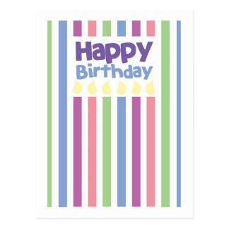 Carte de stripey de joyeux anniversaire