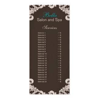 carte de support de brochure de service de salon