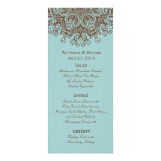 Carte de support de menu de mariage d'Aqua et de B Motif Pour Double Carte