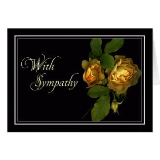 Carte de sympathie/condoléance de rose jaune