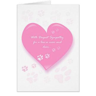 Carte de sympathie d'animal familier - coeur rose