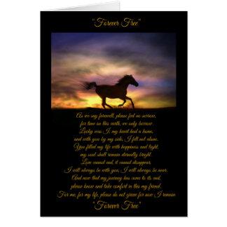 Carte de sympathie de cheval avec le poème