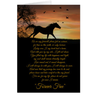 Carte de sympathie de cheval, perte de poème de