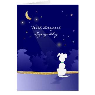 Carte de sympathie de chien - lune et étoiles