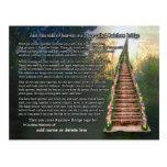 Carte de sympathie de poème de pont en arc-en-ciel cartes postales