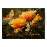 Carte de sympathie florale de papillon