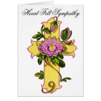 Carte de sympathie jaune de croix de fleur 18