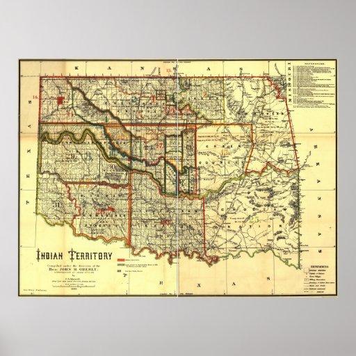 Carte de territoire de 1889 Indiens Affiches