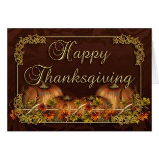 Carte de thanksgiving avec des citrouilles