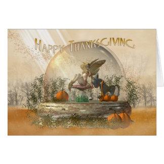 Carte de thanksgiving avec la fée dans un automne