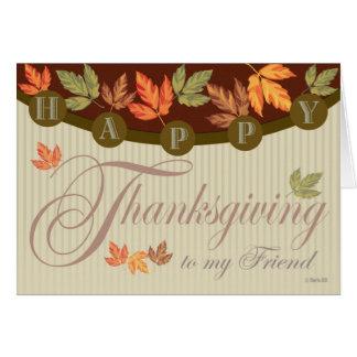 Carte de thanksgiving avec le feuillage d'automne
