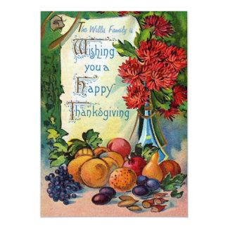 Carte de thanksgiving de fruits et de fleurs faire-parts