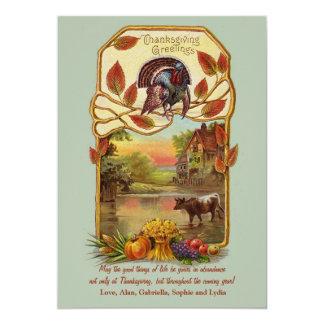 Carte de thanksgiving de scène de pays carton d'invitation  12,7 cm x 17,78 cm