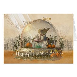 Carte de thanksgiving de soeur avec la fée dans un