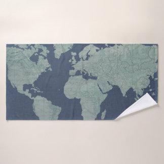 Carte de toile bleue du monde