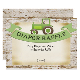 Carte de tombola de couche-culotte - tracteur vert