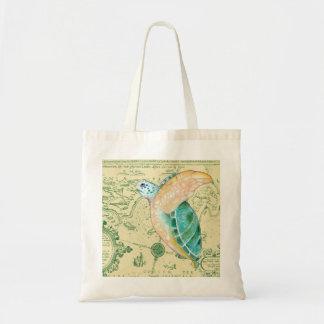 Carte de tortue de mer sacs en toile