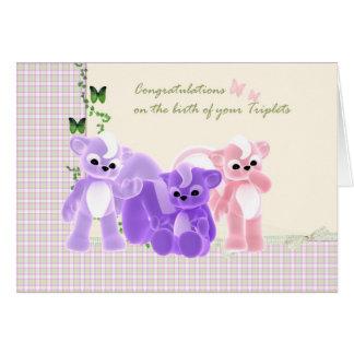 Carte de triplets de bébé de félicitations,