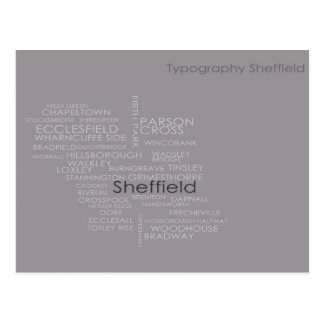Carte de typographie de Sheffield Cartes Postales
