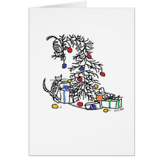 Carte de vacances - chatons contre l'arbre de Noël