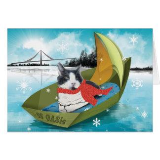 Carte de vacances de chat des services animaux