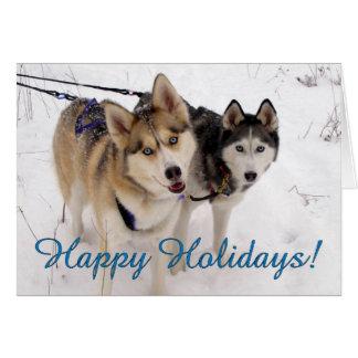 Carte de vacances de chien de traîneau sibérien