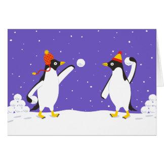Carte de vacances de combat de Snowball de