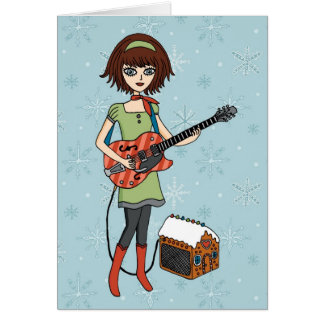 Carte de vacances de fille de guitare
