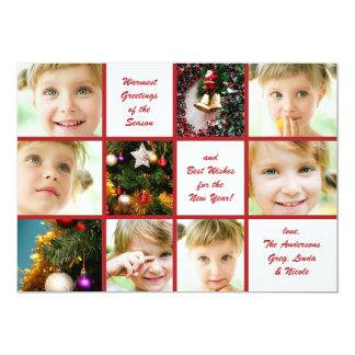 Carte de vacances de graphique de Noël 9-Photo Carton D'invitation 12,7 Cm X 17,78 Cm