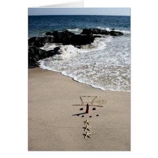 Carte de vacances de Noël de plage de bonhomme de