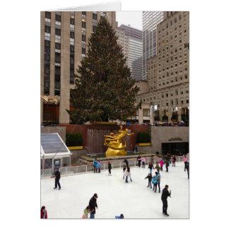 Carte de vacances de Noël du patinage de glace NYC