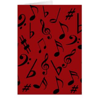 Carte de vacances de notes musicales - rouge
