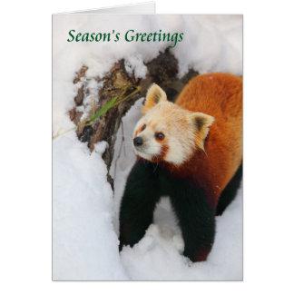 Carte de vacances de panda rouge