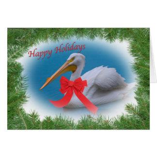 Carte de vacances de pélican blanc