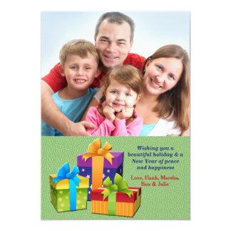 Carte de vacances de photo de trois présents carton d'invitation  12,7 cm x 17,78 cm