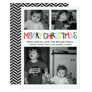 Carte de vacances de photo du Joyeux Noël 3 Carton D'invitation 12,7 Cm X 17,78 Cm