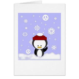 Carte de vacances de pingouin de paix
