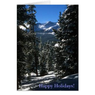 Carte de vacances de scène d'hiver de forêt de mon